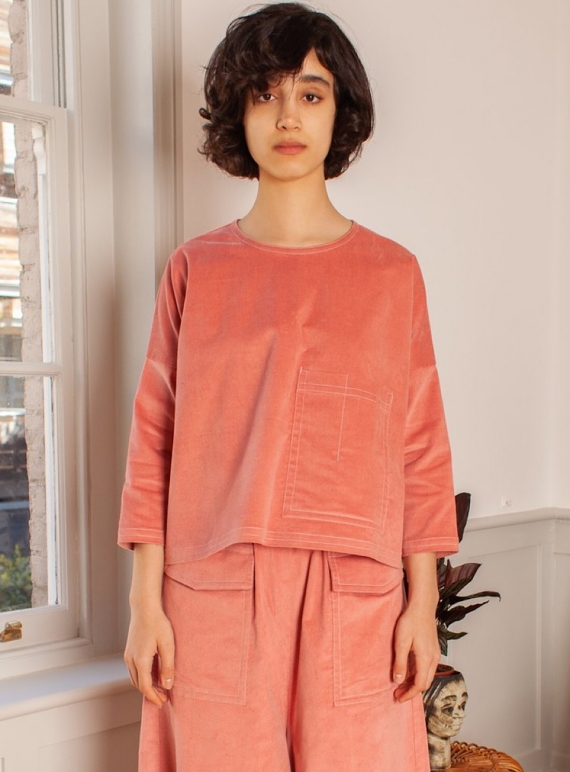 Young British Designers: HARLEY Top in Dusty Pink Velvet by LF Markey