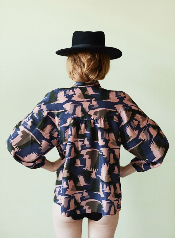 Young British Designers: Xanthe Shirt in Ceradon Birds Fly Print - Last one by Tallulah & Hope