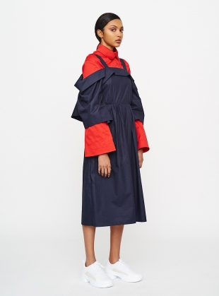 Young British Designers: RED SATEEN COTTON WIDE SLEEVE SHIRT  by Teija Eilola