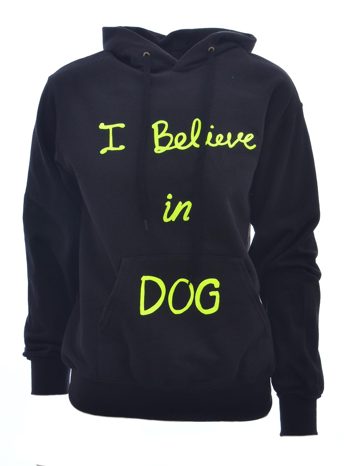 I BELIEVE IN DOG HOODIE. Black by Simeon Farrar