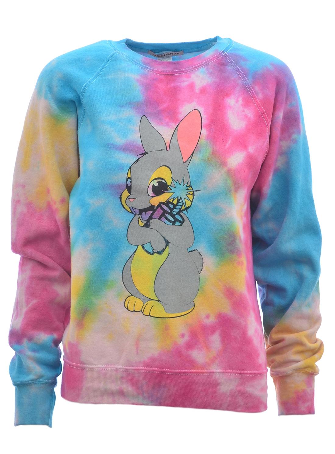 SWEATSHIRT. Multi Colour Bunny Tie Dye by Simeon Farrar