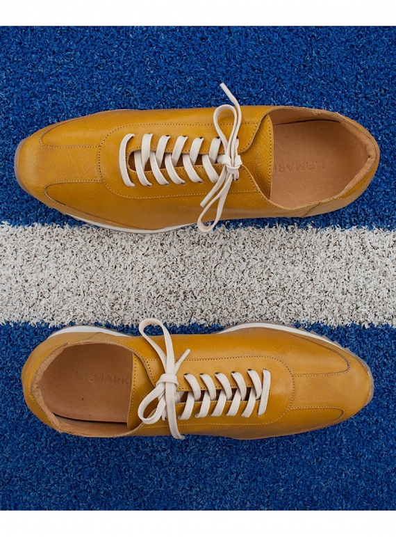 Young British Designers: KID LEATHER Vintage Yellow Trainers - last pair by LF Markey