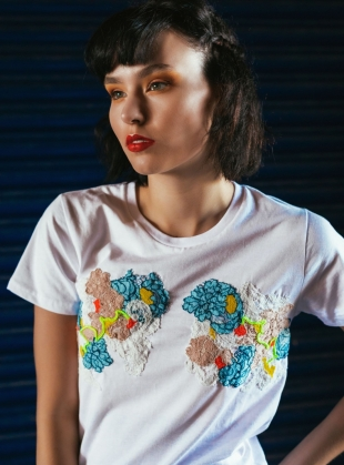 Young British Designers: Hand Embellished T-Shirt. White by Sophie Pittom