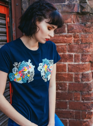 Young British Designers: Hand Embellished T-Shirt. Navy by Sophie Pittom