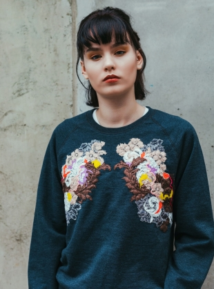 Young British Designers: Hand Embellished Sweatshirt. Washed Grey - Sold out by Sophie Pittom
