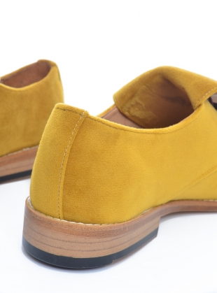 Young British Designers: Handmade Derby Shoe in Mustard Velvet  by OFKT