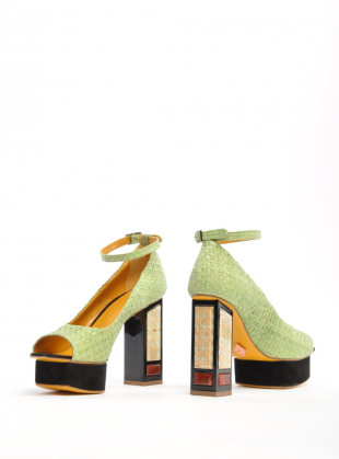 Young British Designers: Green Lotus Platform Sandal - last pair by Joanne Stoker
