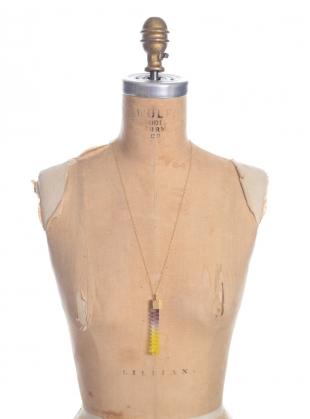 Young British Designers: Dark Grey & Yellow Step Column Pendant - last one by Lily Kamper