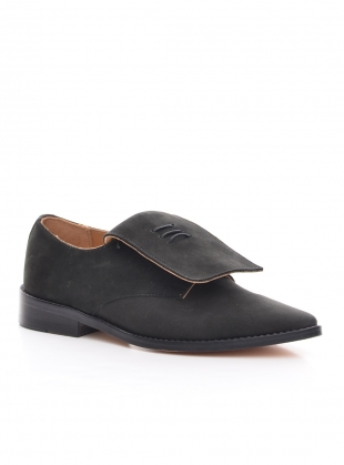 Young British Designers: Handmade Derby Shoe in Black Nubuck by OFKT