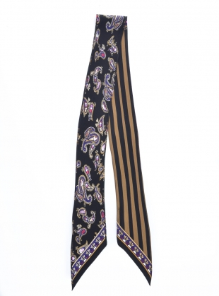 Young British Designers: SUPER SKINNY SCARF in Ice Cream Paisley Black by Rockins