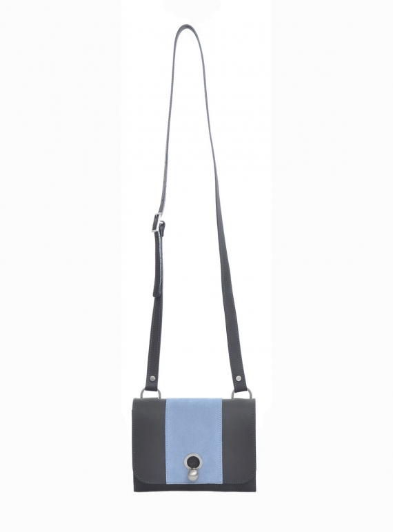 Young British Designers: CHARLIE Box Stripe Bag in Grey/Blue/Nude by Danielle Foster