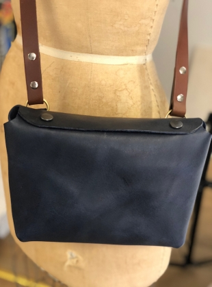 Young British Designers: GWEN Cross Body Bag in Navy by Weald Handmade