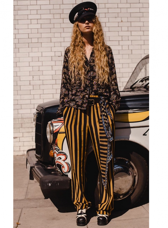 Young British Designers: LOOSE BLACK AND GOLD STRIPED SILK TROUSER  by Rockins