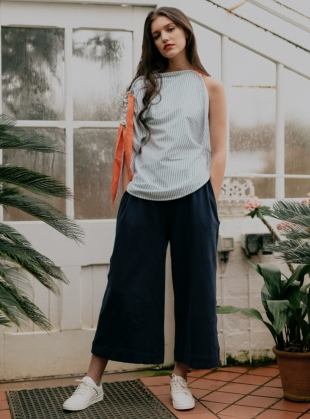 Young British Designers: NICKY Organic Cotton Trouser in Navy Blue - Last pair by Beaumont Organic