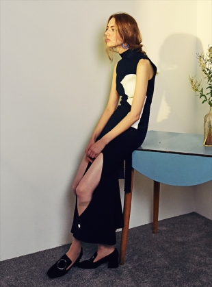 Young British Designers: NAVY & WHITE SLEEVELESS LONG DRESS - last one by Moon Lee Artwear