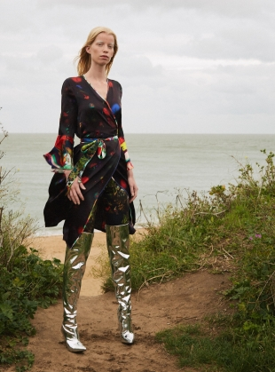 Young British Designers: NETIL Wrap Dress in Dark Floral Explosion by Klements