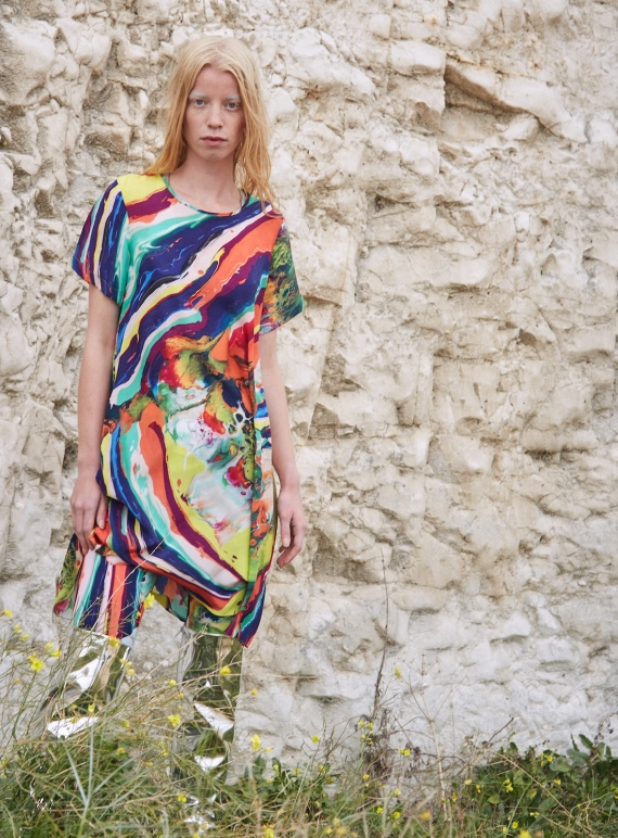 Young British Designers: FRIEDA Dress in Magma Print - last one by Klements