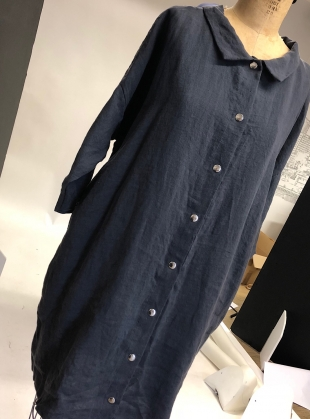 Young British Designers: Softened Linen Reversible Dress in Grey/Navy - Sold out by Lemuel MC