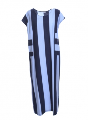 Young British Designers: CAROL Organic Cotton Dress in Navy/Blue - Last one by Beaumont Organic
