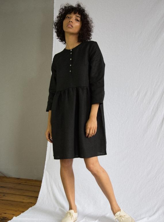 5367d47b9b Young British Designers  FREYA Linen Dress in Black by Beaumont Organic