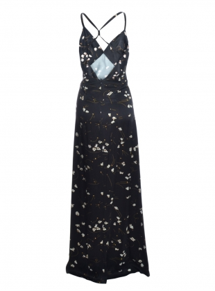 Young British Designers: POPCORN LONG BLACK SLIP DRESS  by Rockins