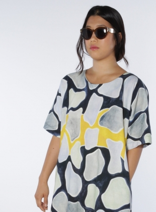 Young British Designers: ATE T-Dress Dress in Organic Cotton Flagstone Print - last one by COR Clothes