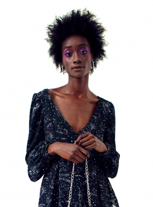 Young British Designers: CONSTELLATION Print Bell Sleeve Dress by Clio Peppiatt