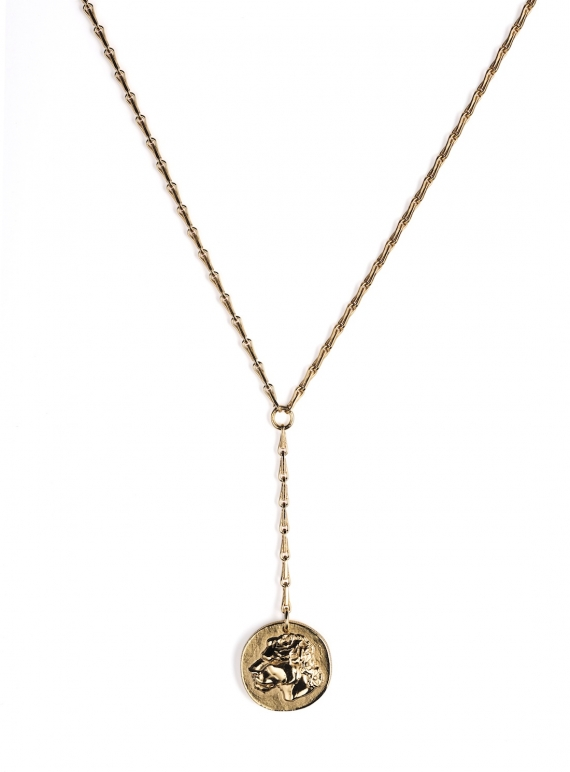 Young British Designers: Gold Lioness Drop Coin Pendant - Sold out by Mikaela Lyons