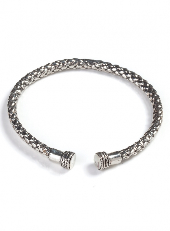 Young British Designers: SOLID RECYCLED SILVER DEA DIA BANGLE by BOODI Jewellery