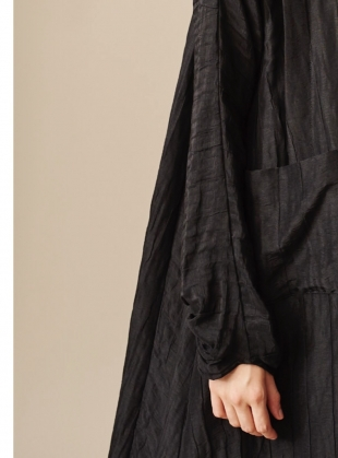 Young British Designers: LONG BLACK MULBERRY SILK COAT - Last one by Renli Su