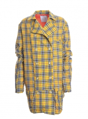 Young British Designers: OVERSIZED YELLOW COTTON PLAID JACKET by Caplan Entwisle