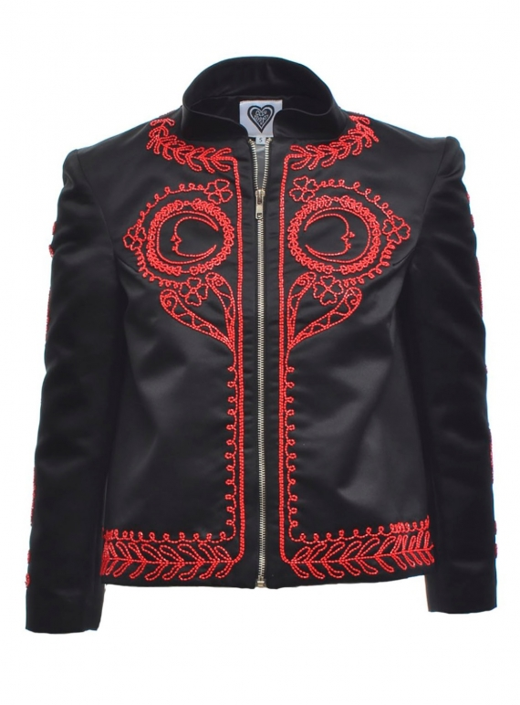 Young British Designers: SELENE Black Beaded Jacket by Clio Peppiatt