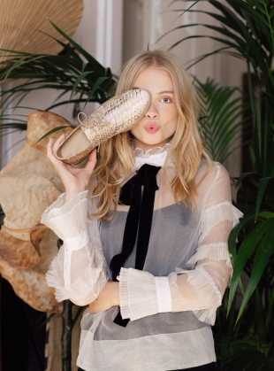 Young British Designers: LOVERS BROGUES in Gold Snake - Last pair by Rogue Matilda
