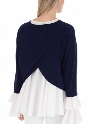 Young British Designers: Open Back Navy Knit with White Blouse by in.no