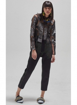 Young British Designers: BLACK on BLACK METALLIC TOP by Longshaw Ward