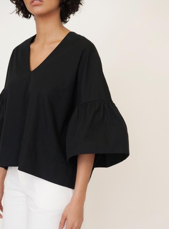 20adbfa7b5 Young British Designers  RITA-MAE Cotton Poplin Top in Black by Beaumont  Organic