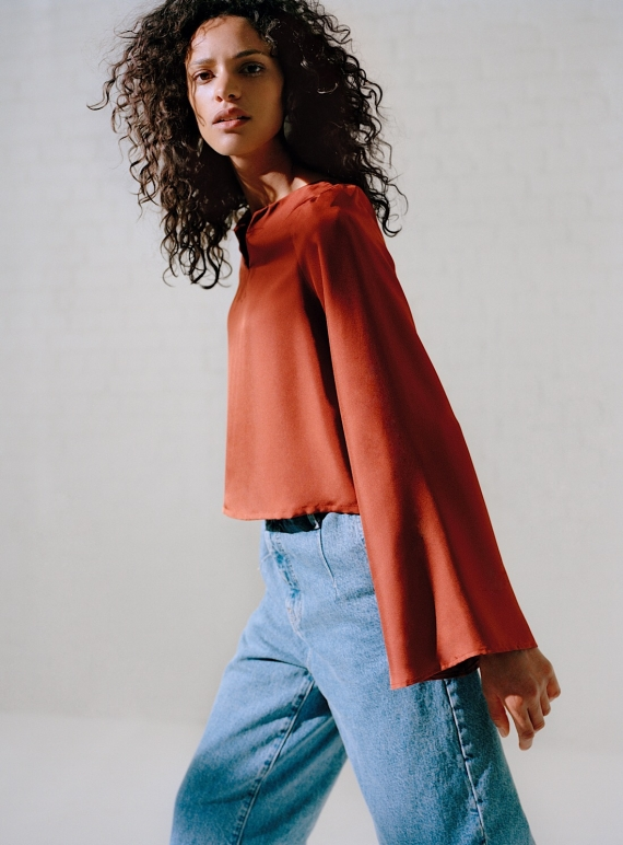 Young British Designers: GRETA Button Back Shirt in Brick Silk by LISOU