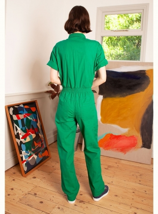 Young British Designers: DANNY SHORT SLEEVED BOILERSUIT. Green - Sold out by LF Markey