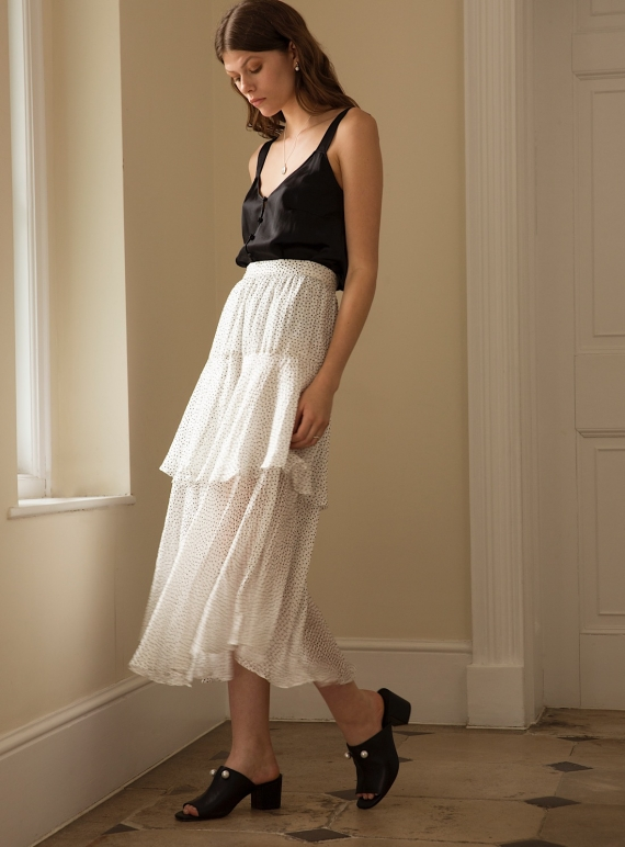 Young British Designers: DANCING LIGHT SKIRT. White Dot by Kelly Love