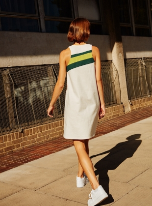 Young British Designers: ZINNIA. Sleeveless white shift dress by RIYKA