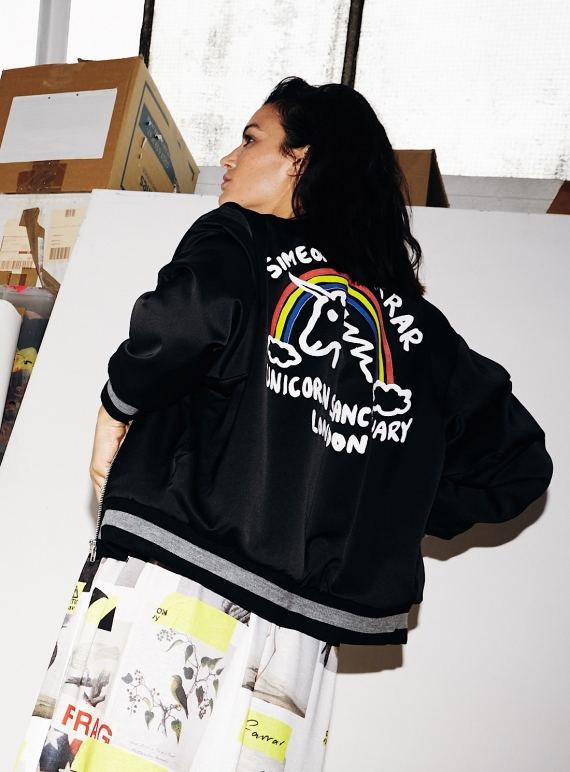 Young British Designers: LIGHTWEIGHT BOMBER JACKET with UNICORN. Black by Simeon Farrar
