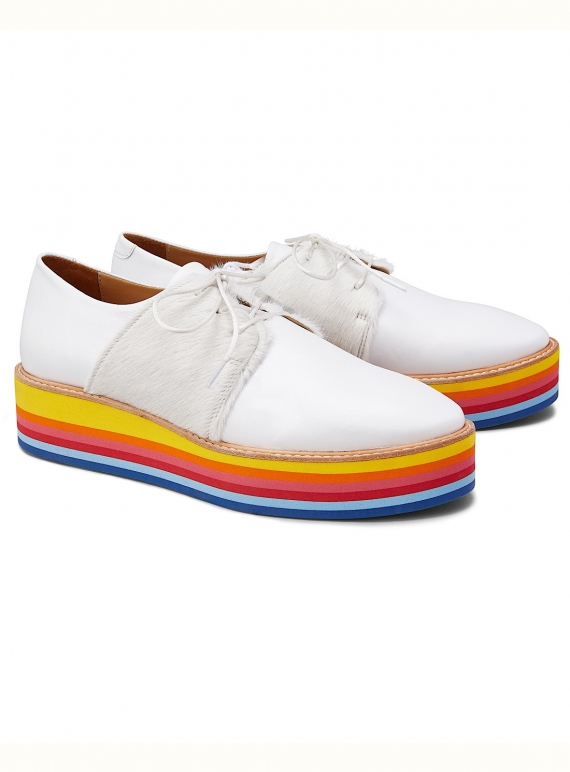 Young British Designers: WANNABE RAINBOW. White Leather Rainbow Platform Brogue.  by Rogue Matilda