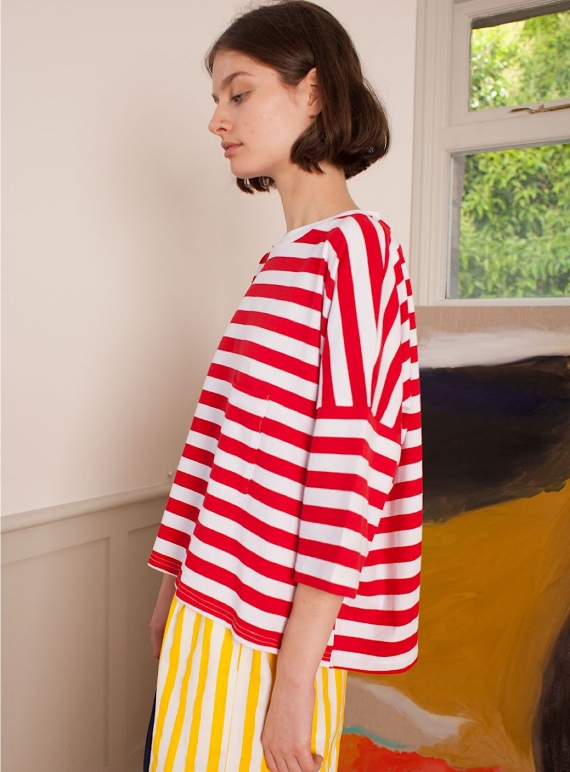 Young British Designers: WINSTON TEE. Red Stripe by LF Markey