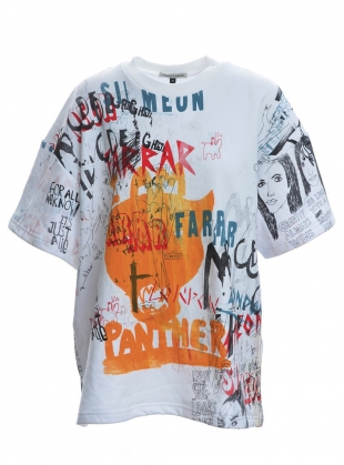Young British Designers: OVERSIZE WHITE SWEAT TOP. Scribble Mix by Simeon Farrar
