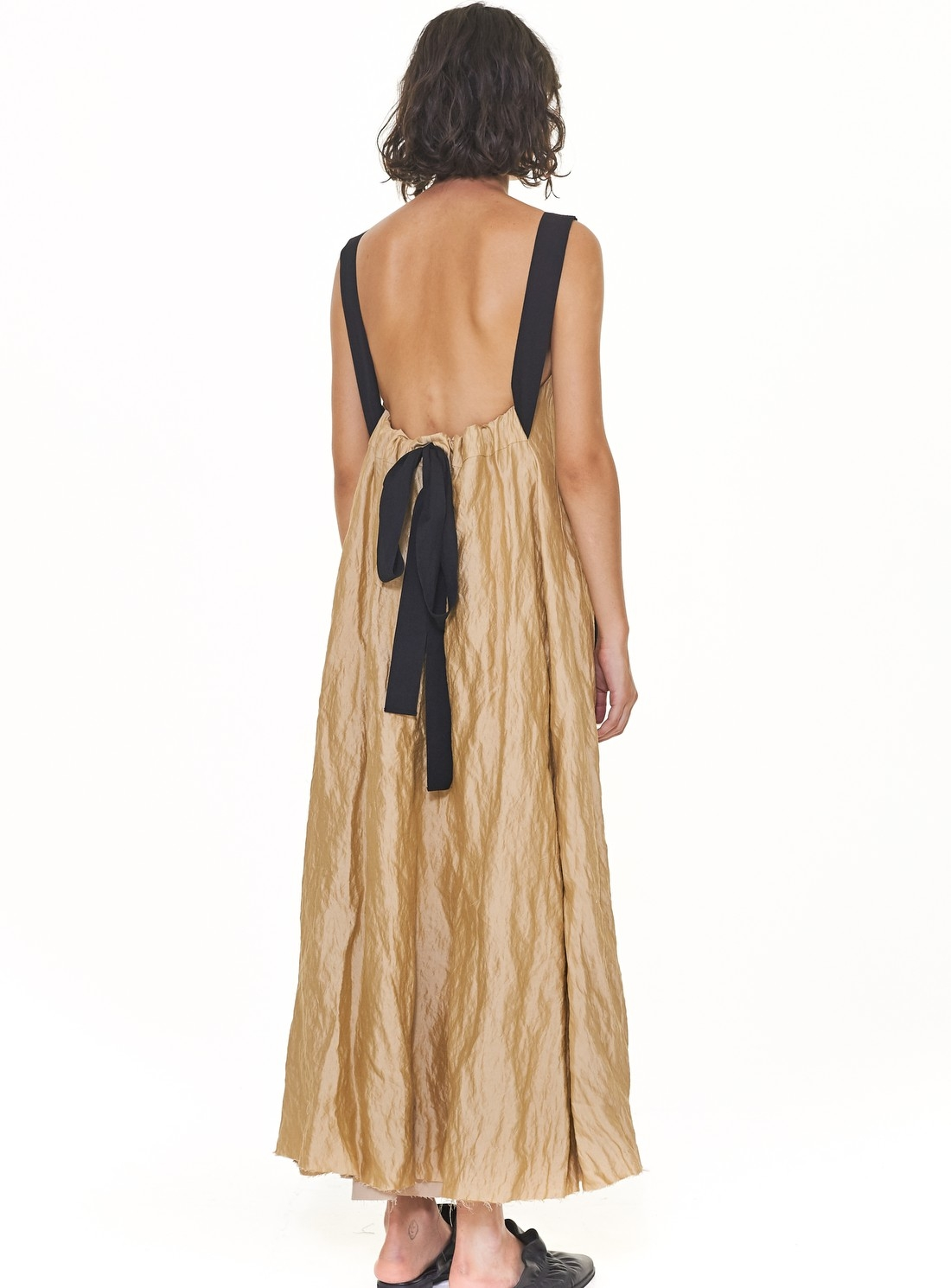 Pale Gold Slip Dress with Gathered Back Detail - last one (S) by WEN PAN