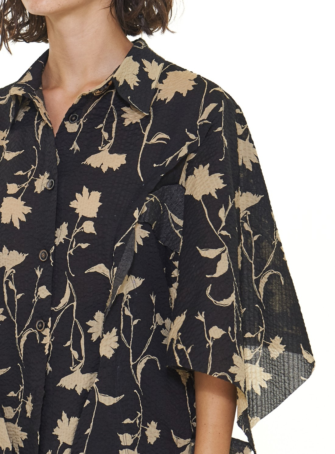 Floral Cape Sleeve SHIRT. Black/Yellow - Last one (XS) by WEN PAN